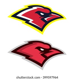 Sport logo set of two bird angry faces. In vector