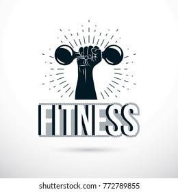 Sport logo for weightlifting gym and fitness club, vector illustration of muscular arm holding dumbbell