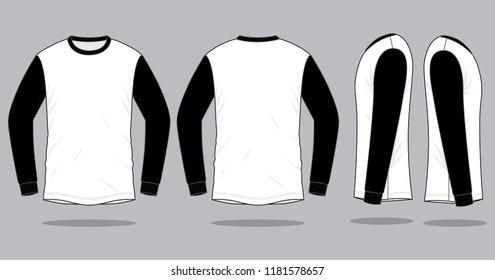 Sport Long Sleeve T-Shirt Design Black-White Vector.Front And Back View.