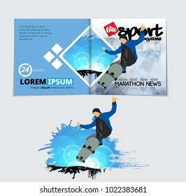 Sport magazine layout with skateboarder trick