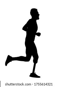 Sport man marathon runner with prosthetic leg vector silhouette illustration isolated on white background. Disabled sport boy active life. Sportsman with amputated prosthesis leg and strong will.