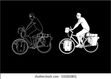 Sport man ridding bicycle isolate on black background