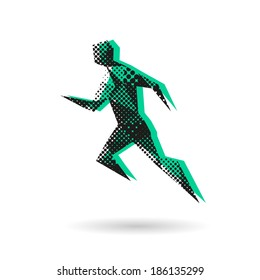 Sport man running abstract isolated on a white background, vector illustration