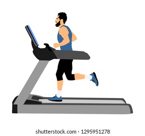 Sport man running on a treadmill in gym vector illustration. Boy on running track cardio training. Fitness instructor personal trainer workout. Exercise on simulator. Gymnastic activity indoor.