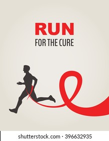 Sport Man Running Red Ribbon, AIDS  Awareness. RUN FOR CURE