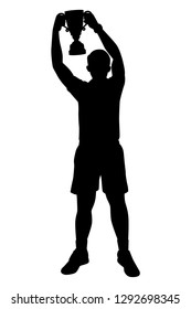 Sport man with trophy in hand silhouette vector