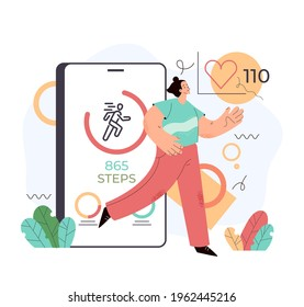 Sport man using phone for counting steps. Step mobile phone app counter pedometer activity heart rate monitoring. Vector flat graphic design cartoon midern style illustration