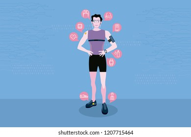 Sport man wearing wearable smart devices technology. Line icons of wearable technology. Internet of things.