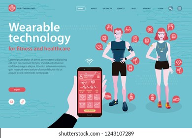sport man and sport woman in sportswear with wearable devices with technology for monitoring health and  sports activity. Intelligent telephone with  interface with application for monitoring data.