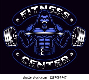 Sport mascot with a gorilla bodybuilder with barbell on the dark background. Text is on the separate group and it is easy removable.