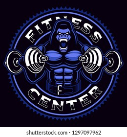 Sport mascot of a gorilla bodybuilder with dumbbells on the dark background.