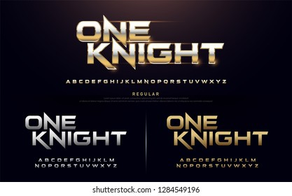 sport modern alphabet fonts. technology typography regular font uppercase silver and gold color. vector illustration