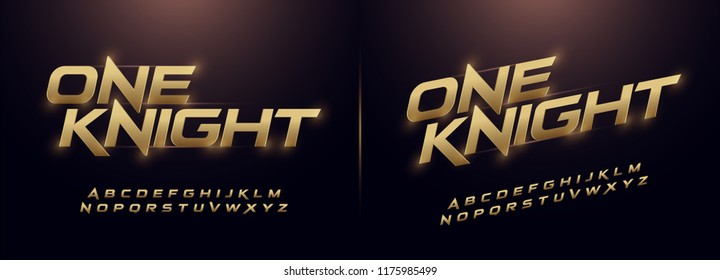 sport modern alphabet gold fonts. technology typography golden italic font uppercase. vector illustrator