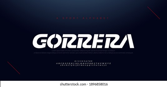 Sport modern italic alphabet fonts and number. Typography, abstract technology, fashion, digital, future creative logo font. vector illustration - Shutterstock ID 1896858016
