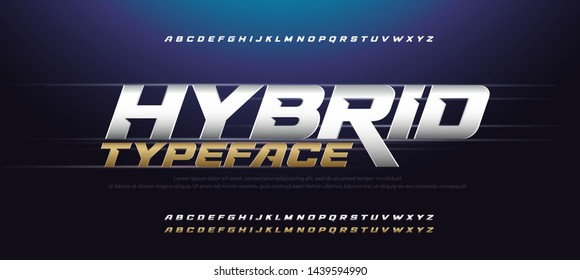 Sport Modern Italic Alphabet Gold Font. Typography 3D urban style silver and golden fonts for technology, digital, movie logo design. vector illustration