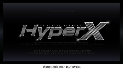 Sport Modern Steel Alphabet silver Font. Typography 3D stainless hole steel silver italic fonts for technology, digital, movie, sport logo design. vector illustration