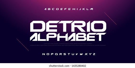 Sport Modern Technology Alphabet Font. Typography fonts for movie technology, sport, game, motorcycle, racing logo design. vector illustration