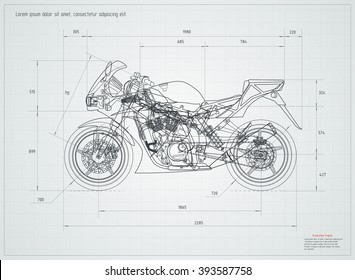 Sport motorcycle technical drawing. Vector illustration. Editable
