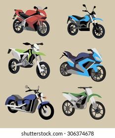 Sport Motorcycle vector image design set.