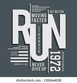 Sport New York  run typography, tee shirt graphics, vectors