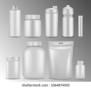 Sport nutrition container packaging mock up set. Vector realistic illustration of blank white plastic jars, foil packages, water bottles, cocktail shakers isolated on white background.