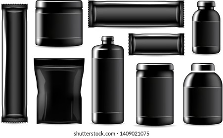 Sport nutrition containers and package mockup, realistic black templates. Vector isolated fitness and sport nutrition package, protein jar and training energy bar, BCAA powder and gainer drink bottle