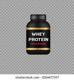 Sport nutrition containers. Whey protein or gainer for your design. Black cans collection with protein. Sports food ad banner. Realistic black plastic bottle or jar with cap. Vector illustration.