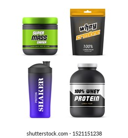 Sport nutrition packages, 3D realistic vector mockup templates. Whey protein plastic jar, mass gainer can, creatine foil zip pack and gym drink shaker bottle mock up