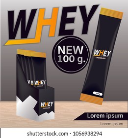 Sport nutrition product containers ad. Weight gainers set. Whey protein bottles. 3D vector product packaging. Jars of bodybuilding food supplements.