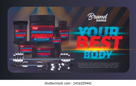 Sport Nutrition Product Containers Ad Banner. Whey Protein for Best Body. Product Packaging Design, Bodybuilding Food Supplement, Weight Gainer Set, Dumbbell, Barbell. 3d Vector Realistic Illustration