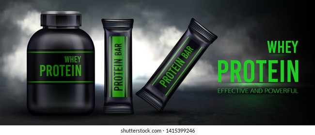 Sport nutrition, protein whey supplement and bars container packaging mockup, Black plastic jar with cap and package on dark smoky background. Sports food ad banner. Realistic 3d vector illustration,
