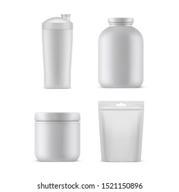 Sport nutrition supplements containers and packages, vector realistic white blank 3D mockup templates. Isolated protein plastic jar, gym shaker bottle, bcaa can and gainer foil bag doy pack with zip