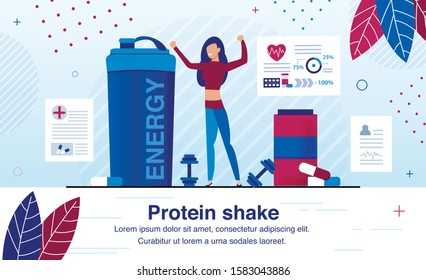 Sport Nutrition Supplements for Energy Revival After Hard Training Trendy Flat Vector Ad Banner, Promo Poster Template. Woman, Female Athlete Drinking Protein Shake After Workout in Gym Illustration