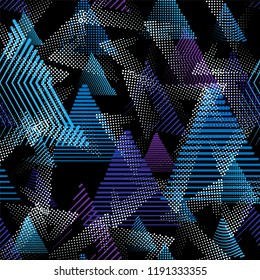 Sport pattern. Seamless background with randomly stripped and dotted triangle elements. Black, cyan, white and purple colors