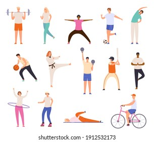 Sport people. Men and women exercise, workout, doing yoga and fitness, run and playing basketball. Healthy lifestyle characters vector set. Riding bicycle, playing baseball and football