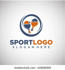 Sport Ping Pong Logo Template. Vector Illustration