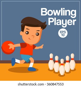 Sport Player : Bowling Player : Vector Illustration