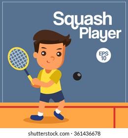 Sport Player, Squash Player, Vector Illustration