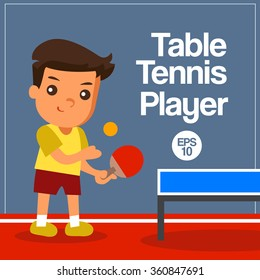 Sport Player : Table Tennis Player : Vector Illustration