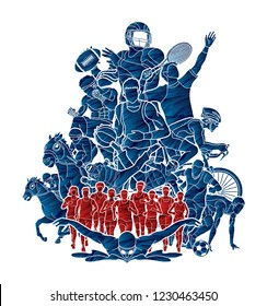 Sport Players, Different sports , Sport mix action graphic vector.