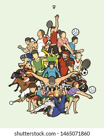 Sport Players, Different sports , Sport mix action cartoon graphic vector.