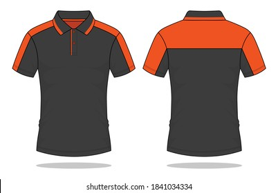 Sport Polo Shirt Design Gray/Orange Vector.Front And Back Views.