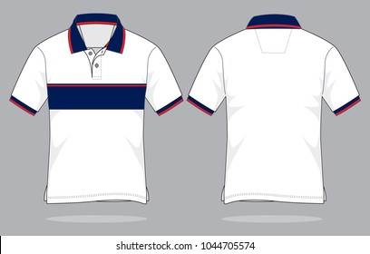 Sport Polo Shirt design (White/Navy/Red)