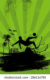 Sport Poster, Beach soccer player performing overhead kick on grunge background, vector