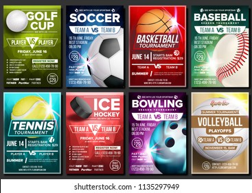 Sport Poster Set Vector. Basketball, Tennis, Soccer, Football, Golf, Baseball, Ice Hockey, Bowling. Vertical Design For Sport Bar Promotion. Tournament Flyer. Club Banner Blank Invitation Illustration