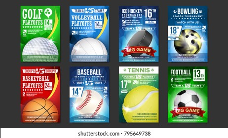 Sport Poster Set Vector. Golf, Baseball, Ice Hockey, Bowling, Basketball, Tennis, Soccer, Football. Banner Advertising. Event Announcement. Ball. A4 Size. Game Design. Sport Championship Illustration