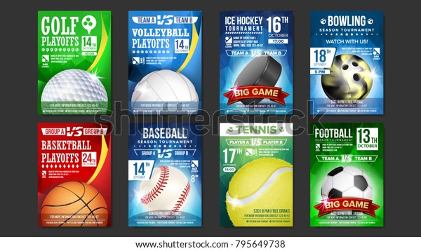 Sport Poster Set Vector. Golf, Baseball, Ice Hockey, Bowling, Basketball, Tennis, Soccer, Football. Banner Advertising. Event Announcement. Ball. A4 Size. Game Design. Sport Championship Illustration