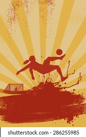 Sport poster, silhouette of woman soccer player performing bicycle kick on grunge background