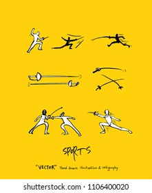 Sport poster / Sketchy leisure illustration - vector