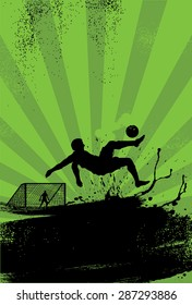 Sport Poster, soccer player performing overhead kick on grunge background, vector